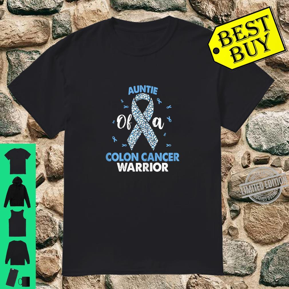 Womens Auntie Of A Colon Cancer Warrior Costume Leopard Ribbon Shirt